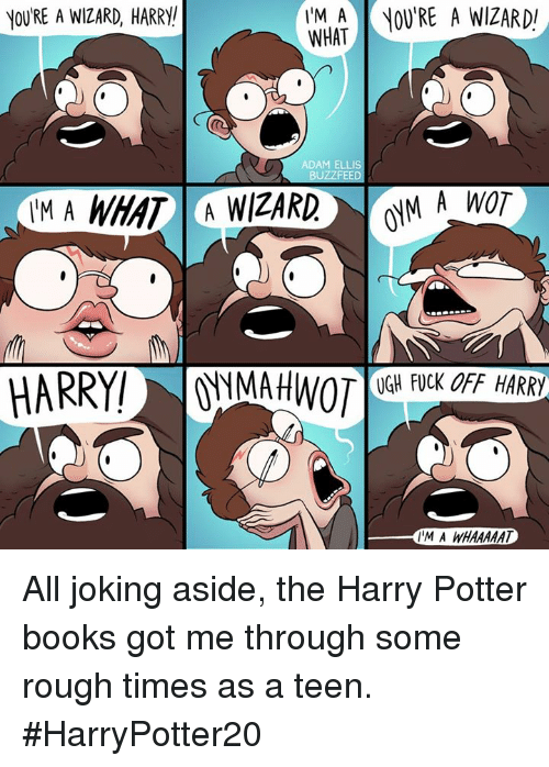 Wizard Harry: YOURE A WIZARD, HARRY  IM A OU'RE A WIZARD  WHAT  ADAM ELLIS  UGH FUCK OFF HARRY  IM A WHAAAAAT All joking aside, the Harry Potter books got me through some rough times as a teen. #HarryPotter20