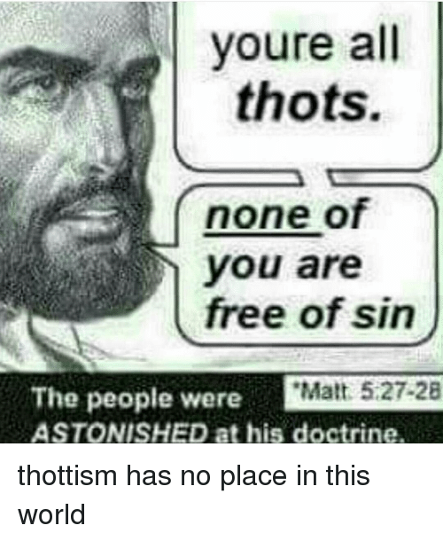 Memes, Thot, and Astonishing: youre all  thots.  none  free of sin  The people were  Matt 5.27-28  ASTONISHED at his doctrine. thottism has no place in this world