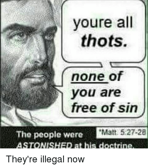 Memes, Thot, and Astonishing: youre all  thots.  none of  you are  free of sin  The people were  i Matt 5.27.28  ASTONISHED at his doctrine. They're illegal now