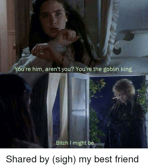 Terrible Facebook: You're him, aren't you? You're the goblin king.  Bitch l might be Shared by (sigh) my best friend
