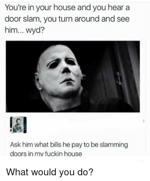 Memes, Wyd, and House: You're in your house and you hear a  door slam, you turn around and see  him... wyd?  lel  Ask him what bills he pay to be slamming  doors in mv fuckin house What would you do?