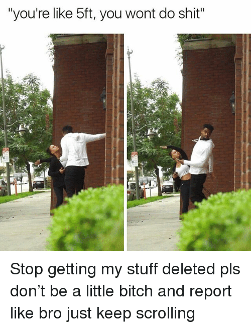 """Bitch, Memes, and Shit: """"you're like 5ft, you wont do shit"""" Stop getting my stuff deleted pls don't be a little bitch and report like bro just keep scrolling"""