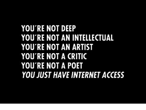 Internet, Memes, and Access: YOU'RE NOT DEEP  YOU'RE NOT AN INTELLECTUAL  YOU'RE NOT AN ARTIST  YOU'RE NOT A CRITIC  YOU'RE NOT A POET  YOU JUST HAVE INTERNET ACCESS