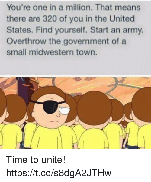 Funny, Army, and Time: You're one in a million. That means  there are 320 of you in the United  States. Find yourself. Start an army.  Overthrow the government of a  small midwestern town. Time to unite! https://t.co/s8dgA2JTHw