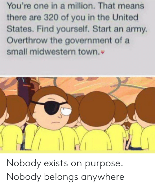 On Purpose: You're one in a million. That means  there are 320 of you in the United  States. Find yourself. Start an army  Overthrow the government of a  small midwestern town. Nobody exists on purpose. Nobody belongs anywhere