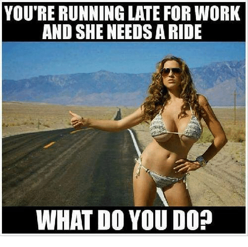 Memes, Run, and Work: YOU'RE RUNNING LATE FOR WORK  AND SHE NEEDSA RIDE  WHAT DO YOU DO?