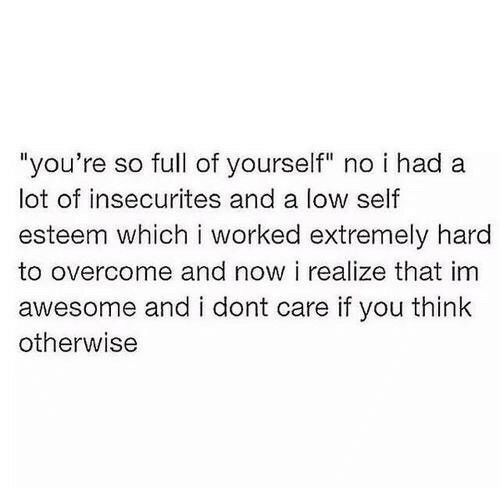 """low self esteem: """"you're so full of yourself"""" no i had a  lot of insecurites and a low self  esteem which i worked extremely hard  to overcome and now i realize that im  awesome and i dont care if you think  otherwise"""