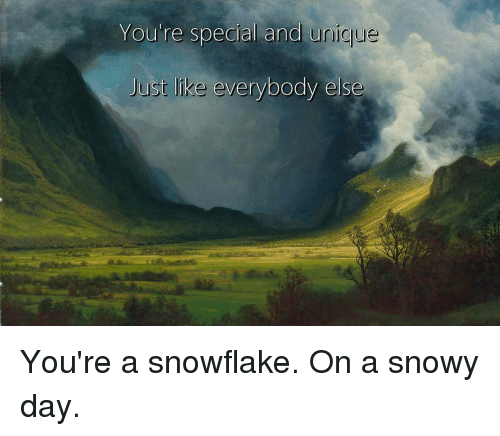 youre special: You're special and unic  ue  Just like everybody else You're a snowflake. On a snowy day.