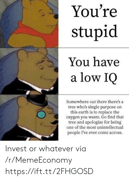 Youre Stupid: You're  stupid  You have  a low IQ  Somewhere out there there's a  tree who's single purpose on  this earth is to replace the  oxygen you waste. Go find that  tree and apologize for being  one of the most unintellectual  people I've ever come across. Invest or whatever via /r/MemeEconomy https://ift.tt/2FHGOSD