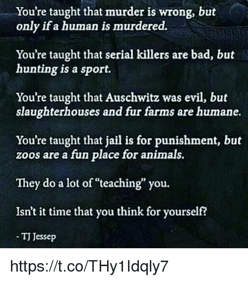 "Memes, Auschwitz, and Serial: You're taught that murder is wrong, but  only if a human is murdered.  You're taught that serial killers are bad, but  hunting is a sport.  You're taught that Auschwitz was evil, but  slaughterhouses and fur farms are humane.  You're taught that jail is for punishment, but  zoos are a fun place for animals.  They do a lot of ""teaching you.  Isn't it time that you think for yourself?  TJ esse https://t.co/THy1Idqly7"