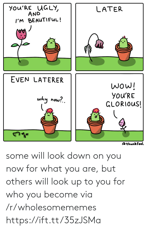 look down: you'RE UGLY,  AND  LATER  I'M BEAUTIFUL!  EVEN LATERER  wow!  you'RE  GLORIOUS!  why now?.  Qthunkfool some will look down on you now for what you are, but others will look up to you for who you become via /r/wholesomememes https://ift.tt/35zJSMa