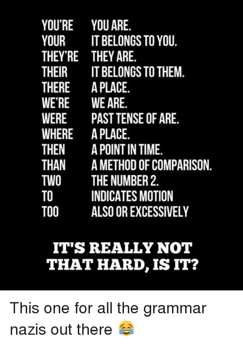 Grammar Nazis: YOU'RE YOU ARE.  YOUR  IT BELONGS TO YOU.  THEY'RE THEY ARE.  THEIR  IT BELONGS TO THEM.  THERE  A PLACE  WERE WE ARE  WERE  PAST TENSE OF ARE.  WHERE A PLACE.  THEN  A POINT IN TIME  THAN  A METHOD OF COMPARISON  TWO  THE NUMBER 2  INDICATES MOTION  TOO  ALSO OR EXCESSIVELY  IT'S REALLY NOT  THAT HARD, IS IT? This one for all the grammar nazis out there 😂