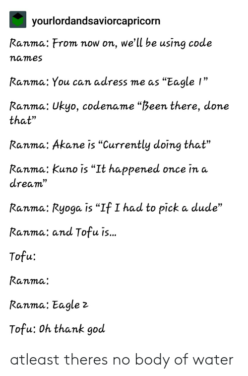 """Code Names: yourlordandsaviorcapricorn  Ranma: From now on, we'll be using code  names  Ranma: You can adress me as """"Eagle I""""  99  Ranma: Ukyo, codename """"Been there, done  that""""  Ranma: Akane is """"Currently doing that""""  Ranma: Kuno is """"It happened once in a  dream""""  Ranma: Ryoga is """"If I had to pick a dude""""  Ranma: and Tofu i...  Tofu:  Ranma:  Ranma: Eagle 2  Tofu: Oh thank god atleast theres no body of water"""