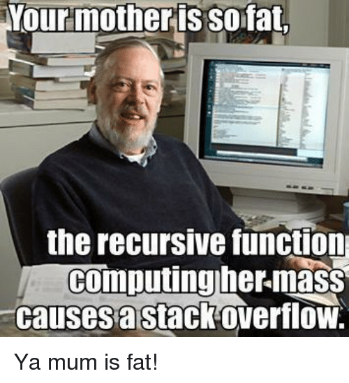 So Fat: Yourmother is so fat  the recursive function  Computingher-mass  causesa stackovertlow. Ya mum is fat!