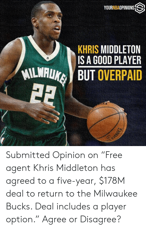 "Khris Middleton: YOURNBAOPINIONS S  KHRIS MIDDLETON  IS A GOOD PLAYER  ILWAUKBUT OVERPAID Submitted Opinion on ""Free agent Khris Middleton has agreed to a five-year, $178M deal to return to the Milwaukee Bucks. Deal includes a player option."" Agree or Disagree?"