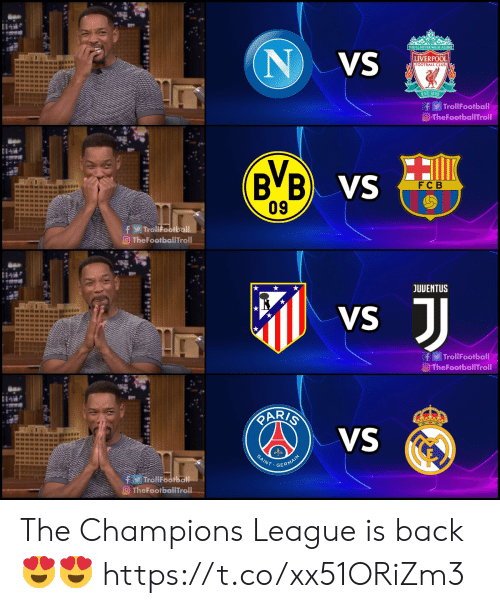 Champions League: YOUTLL NEVER WALKALONE  NVS  LIVERPOOL  FOOTBALL CLUB  EST-1892  f TrollFootball  O-TheFootballTroll  B B VS  09  F C B  fTrollFootball  TheFootballTroll  JUVENTUS  JJ  VS  fTrollFootball  O TheFootballTroll  RARIS  VS  mansun  SAINT  GERMAIN  TrollFootball  TheFootballTroll The Champions League is back 😍😍 https://t.co/xx51ORiZm3