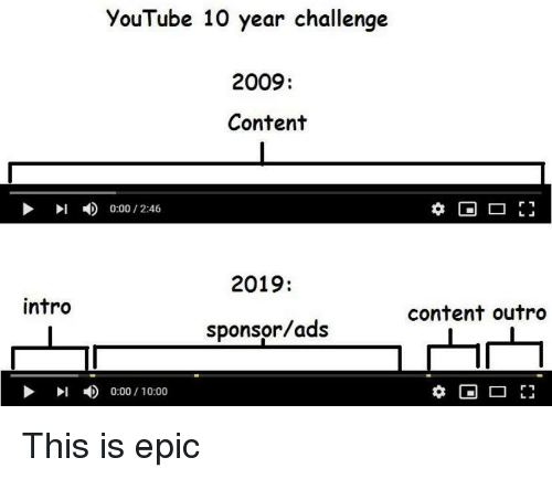 Sponsor: YouTube 10 year challenge  2009:  Content  I0:00/2:46  t*  2019:  intro  content outro  sponsor/ads  4)  0:00 / 10:00 This is epic