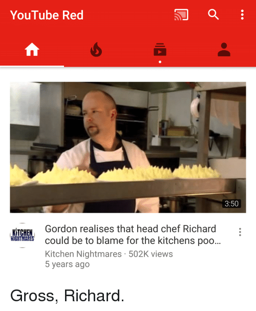 Kitchen Nightmares Youtube: YouTube Red Gordon Realises That Head Chef Richard KITCHEN