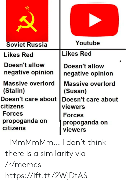 stalin: Youtube  Soviet Russia  Likes Red  Likes Red  Doesn't allow  Doesn't allow  negative opinion  negative opinion  Massive overlord Massive overlord  (Stalin)  Doesn't care about Doesn't care about  citizens  (Susan)  viewers  Forces  Forces  propoganda on  citizens  propoganda on  viewers HMmMmMm… I don't think there is a similarity via /r/memes https://ift.tt/2WjDtAS