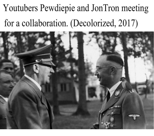 Dank Memes and Jon Tron: Youtubers Pewdiepie and Jon Tron meeting  for a collaboration. Decolorized, 2017