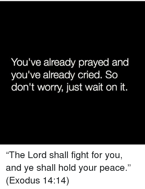 "Exodus: You've already prayed and  you've already cried. So  don't worry, just wait on it. ""The Lord shall fight for you, and ye shall hold your peace."" (Exodus‬ ‭14:14‬)"