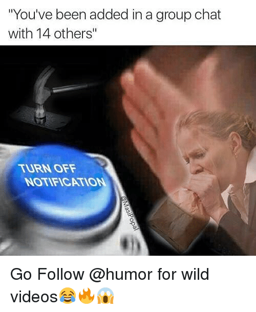 "Group Chat, Memes, and Videos: ""You've been added in a group chat  with 14 others""  TURN OFF  NOTIFICATION Go Follow @humor for wild videos😂🔥😱"