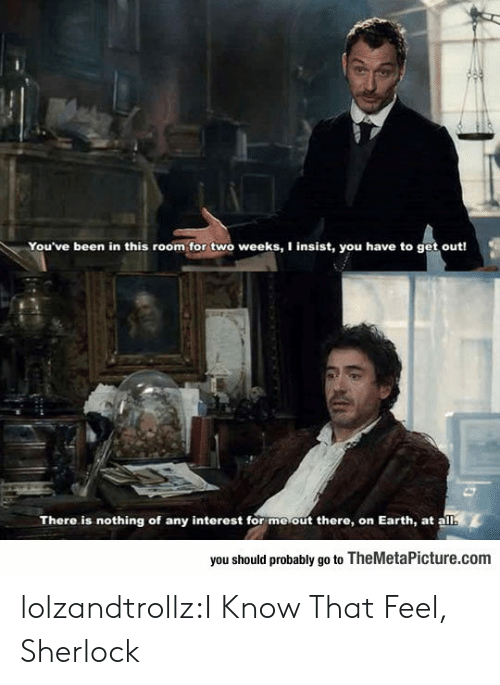Sherlock: You've been in this room for two weeks, I insist, you have to get out!  There is nothing of any interest for moout there, on Earth, at a  you should probably go to TheMetaPicture.com lolzandtrollz:I Know That Feel, Sherlock