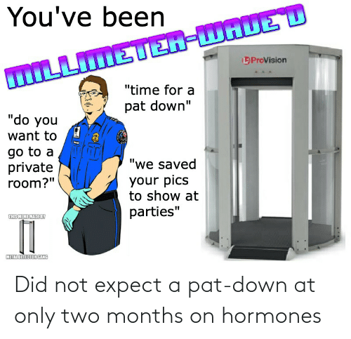 """metal detector: You've been  ProVision  LLIMETER-WAUED  """"time for a  pat down""""  """"do you  want to  go to a  private  room?""""  """"we saved  your pics  to show at  parties""""  THISMEME MADBBY  METAL DETECTOR GANG Did not expect a pat-down at only two months on hormones"""