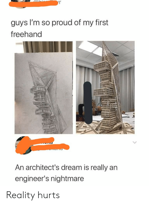 im so proud: yr  guys I'm so proud of my first  freehand  An architect's dream is really an  engineer's nightmare Reality hurts