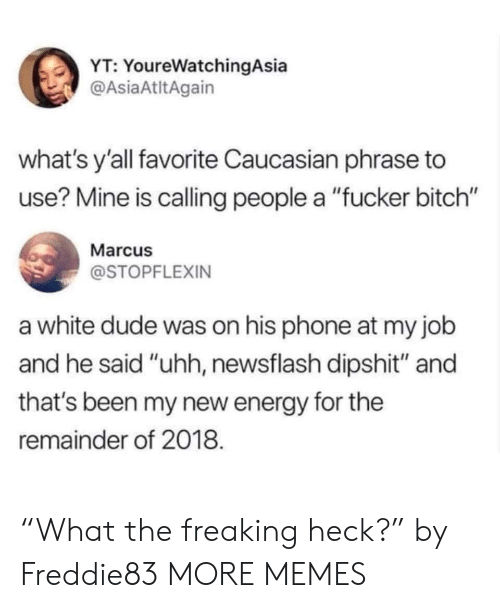 """Caucasian: YT: YoureWatchingAsia  @AsiaAtltAgain  what's y'all favorite Caucasian phrase to  use? Mine is calling people a """"fucker bitch""""  Marcu  @STOPFLEXIN  a white dude was on his phone at my job  and he said """"uhh, newsflash dipshit"""" and  that's been my new energy for the  remainder of 2018. """"What the freaking heck?"""" by Freddie83 MORE MEMES"""