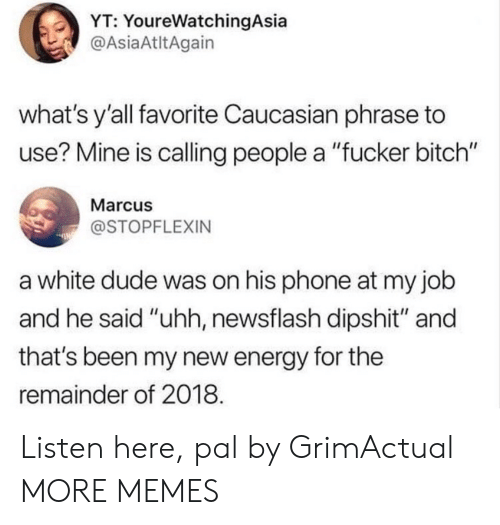 """Caucasian: YT: YoureWatchingAsia  @AsiaAtltAgain  what's y'all favorite Caucasian phrase to  use? Mine is calling people a """"fucker bitch""""  Marcus  @STOPFLEXIN  a white dude was on his phone at my job  and he said """"uhh, newsflash dipshit"""" and  that's been my new energy for the  remainder of 2018 Listen here, pal by GrimActual MORE MEMES"""