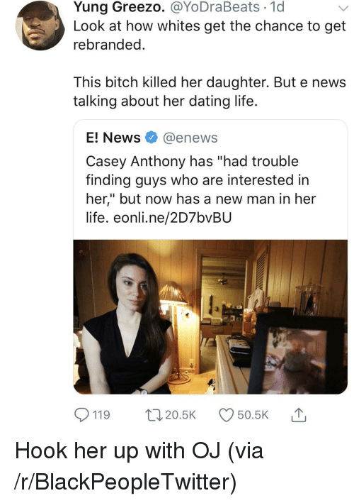 """E News: Yung Greezo. @YoDraBeats 1d  Look at how whites get the chance to get  rebranded  This bitch killed her daughter. But e news  talking about her dating life  E! News @enews  Casey Anthony has """"had trouble  finding guys who are interested in  her,"""" but now has a new man in her  life. eonli.ne/2D7bvBU  119 20.5 50.5K Hook her up with OJ (via /r/BlackPeopleTwitter)"""