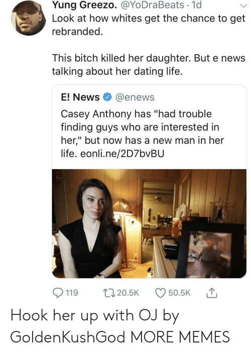 """E News: Yung Greezo. @YoDraBeats 1d  Look at how whites get the chance to get  rebranded  This bitch killed her daughter. But e news  talking about her dating life  E! News @enews  Casey Anthony has """"had trouble  finding guys who are interested in  her,"""" but now has a new man in her  life. eonli.ne/2D7bvBU  119 20.5 50.5K Hook her up with OJ by GoldenKushGod MORE MEMES"""