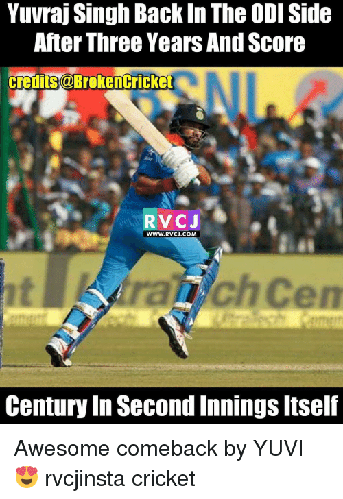 Awesome Comebacks: Yuvraj Singh Back In The ODISide  After Three Years And Score  credits@BrokenCricket  RVCJ  WWW. RVCJ.COM  Century In Second Innings Itself Awesome comeback by YUVI 😍 rvcjinsta cricket