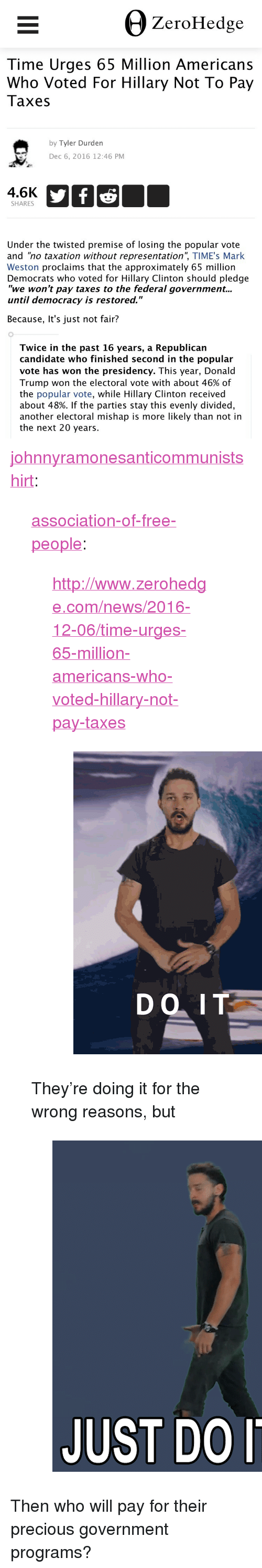 """Tyler Durden: +) Z  erofeddge  Time Urges 65 Million Americans  Who Voted For Hillary Not To Pay  Taxes  by Tyler Durden  Dec 6, 2016 12:46 PM  4.6K  SHARES  Under the twisted premise of losing the popular vote  and """"no taxation without representation"""", TIME's Mark  Weston proclaims that the approximately 65 million  Democrats who voted for Hillary Clinton should pledge  """"we won't pay taxes to the federal government...  until democracy is restored.""""  Because, It's just not fair?  Twice in the past 16 years, a Republican  candidate who finished second in the popular  vote has won the presidency. This year, Donald  Trump won the electoral vote with about 46% of  the popular vote, while Hillary Clinton received  about 48%. If the parties stay this evenly divided,  another electoral mishap is more likely than not in  the next 20 years. <p><a href=""""http://johnnyramonesanticommunistshirt.tumblr.com/post/154134727610/association-of-free-people"""" class=""""tumblr_blog"""">johnnyramonesanticommunistshirt</a>:</p>  <blockquote><p><a href=""""http://association-of-free-people.tumblr.com/post/154134539634/httpwwwzerohedgecomnews2016-12-06time-urges"""" class=""""tumblr_blog"""">association-of-free-people</a>:</p><blockquote> <p><a href=""""http://www.zerohedge.com/news/2016-12-06/time-urges-65-million-americans-who-voted-hillary-not-pay-taxes"""">http://www.zerohedge.com/news/2016-12-06/time-urges-65-million-americans-who-voted-hillary-not-pay-taxes</a></p> <figure class=""""tmblr-full"""" data-orig-width=""""429"""" data-orig-height=""""576"""" data-tumblr-attribution=""""wslofficial:QuEpRjPNSJsmONASLn8ThA:ZHxjps1mI2NnB"""" data-orig-src=""""https://78.media.tumblr.com/f4b9e714ffe81325df1b9f8dca61b88b/tumblr_npc9o0GzNI1s7jx17o1_500.gif""""><img src=""""https://78.media.tumblr.com/f4b9e714ffe81325df1b9f8dca61b88b/tumblr_inline_ohsa42eGLa1svtbld_500.gif"""" data-orig-width=""""429"""" data-orig-height=""""576"""" data-orig-src=""""https://78.media.tumblr.com/f4b9e714ffe81325df1b9f8dca61b88b/tumblr_npc9o0GzNI1s7jx17o1_500.gif""""/></figure></blockquote>  <p"""