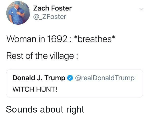 The Village: Zach Foster  _ZFoster  Woman in 1692: *breathes*  Rest of the village:  Donald J. Trump @realDonaldTrump  WITCH HUNT! Sounds about right