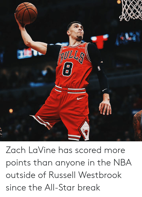 westbrook: Zach LaVine has scored more points than anyone in the NBA outside of Russell Westbrook since the All-Star break