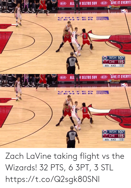 stl: Zach LaVine taking flight vs the Wizards!   32 PTS, 6 3PT, 3 STL https://t.co/Q2sgk80SNl