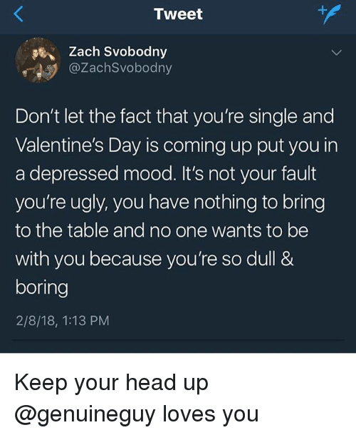 Head, Memes, and Mood: Zach Svobodny  @ZachSvobodny  Don't let the fact that you're single and  Valentine's Day is coming up put you in  a depressed mood. It's not your fault  you're ugly, you have nothing to bring  to the table and no one wants to be  with you because you're so dull &  boring  2/8/18, 1:13 PM Keep your head up @genuineguy loves you