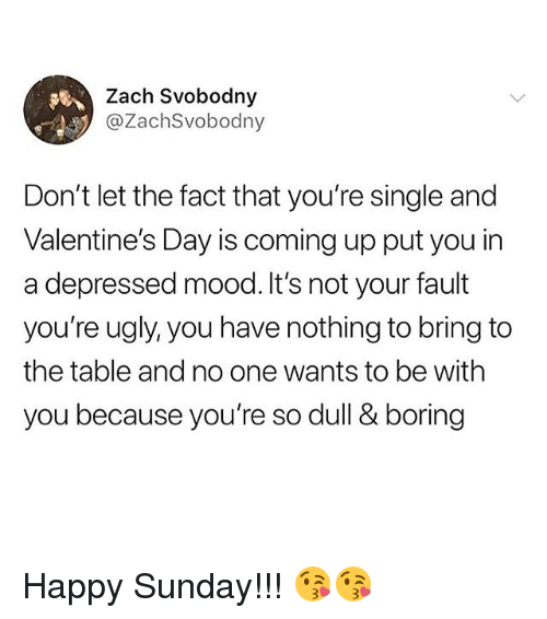 Memes, Mood, and Ugly: Zach Svobodny  @ZachSvobodny  Don't let the fact that you're single and  Valentine's Day is coming up put you in  a depressed mood.It's not your fault  you're ugly, you have nothing to bring to  the table and no one wants to be with  you because you're so dull & boring Happy Sunday!!! 😘😘