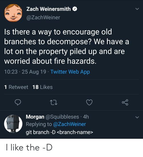 Zach: Zach Weinersmith  @ZachWeiner  Is there a way to encourage oldi  branches to decompose? We have a  lot on the property piled up and are  worried about fire hazards.  10:23 25 Aug 19 Twitter Web App  1 Retweet 18 Likes  Morgan @Squibbleses 4h  Replying to @ZachWeiner  git branch -D <branch-name> I like the -D