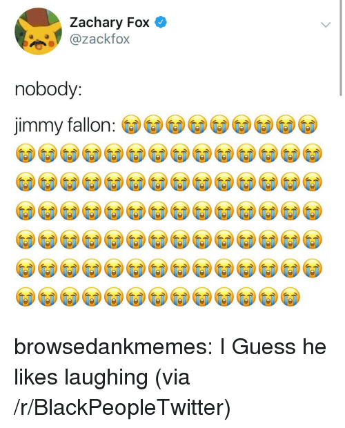 Blackpeopletwitter, Jimmy Fallon, and Tumblr: Zachary Fox  ackfox  nobody:  jimmy fallon browsedankmemes:  I Guess he likes laughing (via /r/BlackPeopleTwitter)