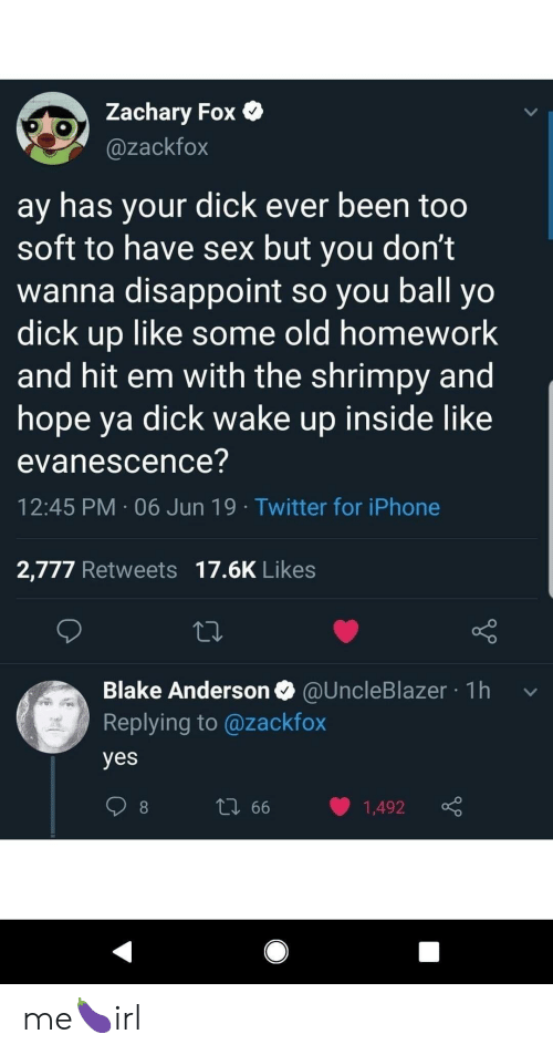 Evanescence: Zachary Fox  @zackfox  ay has your dick ever been too  soft to have sex but you don't  wanna disappoint so you ball yo  dick up like some old homework  and hit em with the shrimpy and  hope ya dick wake up inside like  evanescence?  12:45 PM 06 Jun 19 Twitter for iPhone  2,777 Retweets 17.6K Likes  Blake Anderson @UncleBlazer 1h  Replying to @zackfox  yes  L 66  1,492 me🍆irl