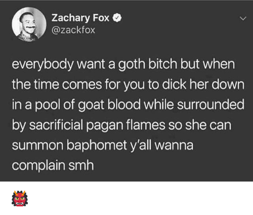 Bitch, Smh, and Goat: Zachary Fox  @zackfox  everybody want a goth bitch but when  the time comes for you to dick her down  in a pool of goat blood while surrounded  by sacrificial pagan flames so she can  summon baphomet y'all wanna  complain smh 👹