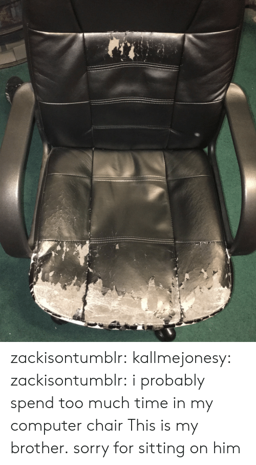 too-much-time: zackisontumblr:  kallmejonesy:  zackisontumblr:  i probably spend too much time in my computer chair  This is my brother.   sorry for sitting on him
