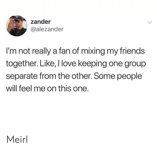 Mixing: zander  @alezander  I'm not really a fan of mixing my friends  together. Like, I love keeping one group  separate from the other. Some people  will feel me on this one. Meirl