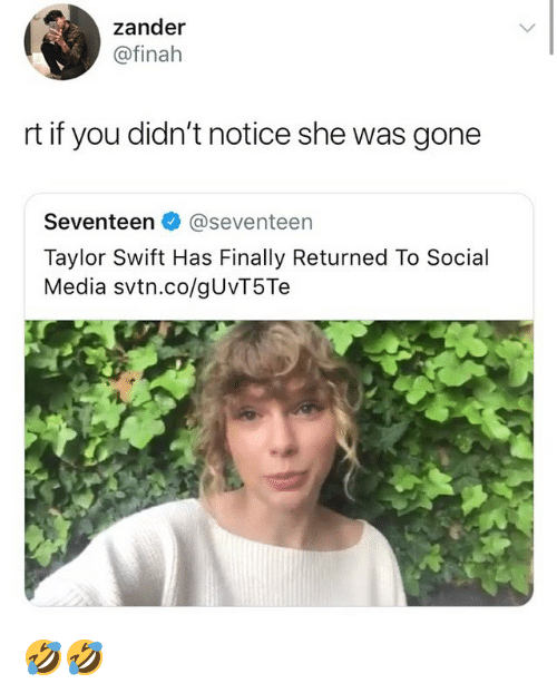 Memes, Social Media, and Taylor Swift: zander  @finah  rt if you didn't notice she was gone  Seventeen @seventeen  Taylor Swift Has Finally Returned To Social  Media svtn.co/gUvT5Te 🤣🤣