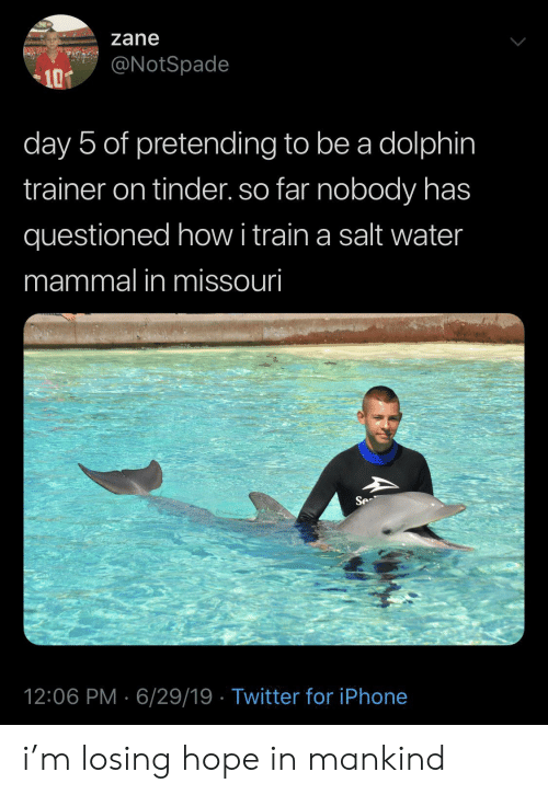 trainer: zane  @NotSpade  10T  day 5 of pretending to be a dolphin  trainer on tinder. so far nobody has  questioned howi train a salt water  mammal in missouri  Se  12:06 PM 6/29/19 Twitter for iPhone i'm losing hope in mankind