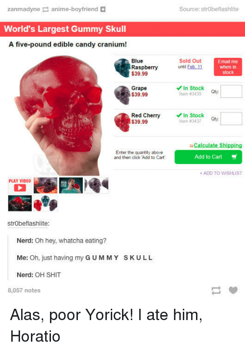 """alas: zanmadyne anime-boyfriend  Source: strObeflashlite  World's Largest Gummy Skull  A five-pound edible candy cranium!  Blue  Raspberry  $39.99  Sold Out  until Feb 11  Email me  when in  stock  Grape  $39.99  In Stock  Item #3439  Red Cherry  $39.99  In Stock  tter"""" #3437  Qty.  G-Calculate Shipping  Enter the quantity above  and then click Add to Cart  Add to Cart  + ADD TO WISHLIST  PLAY VIDEO  strObeflashlite  Nerd: Oh hey, whatcha eating?  Me: Oh, just having my G UMMY SKULL  Nerd: OH SHIT  8,057 notes Alas, poor Yorick! I ate him, Horatio"""
