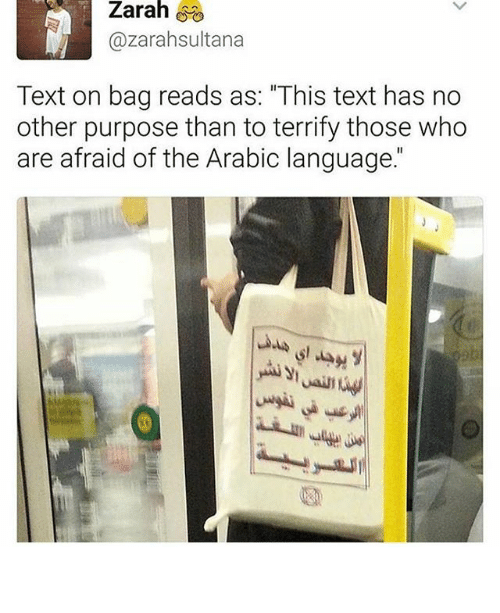 """Memes, Text, and Arabic (Language): Zarah  Zarah  Cazarahsultana  Text on bag reads as: """"This text has no  other purpose than to terrify those who  are afraid of the Arabic language جميلة"""